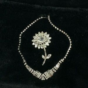 Vintage bling necklace and pin